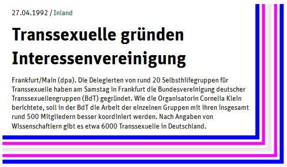 Neues Deutschland - 27.04.1992 - Bundesvereinigung deutscher Transsexuellengruppen - BdT v2.04
