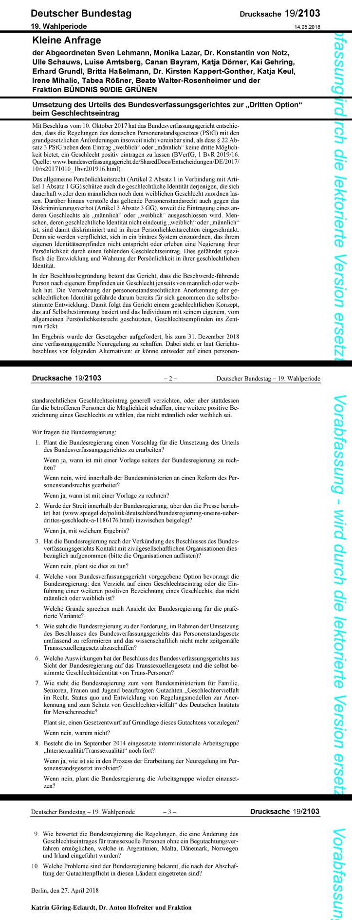 Vorabfassung Drucksache 1902103 Stand 16.Mai2018 Dritte Geschlechts-Option Transsexuellengesetz TSG Nicht-Binäre Menschen TTI³ Geschlechtliche Identität Vielfalt v1