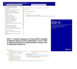 ICD-11 2018 new World Health Organization HA60 v1.03