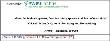 Auszug 138-001l_Geschlechtsdysphorie-Diagnostik-Beratung-Behandlung_ v1.02